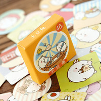 S18 46pcs pack Molang Rabbit Card Adhesive Stickers DIY Scrapbooking Sticker Label Cake Home Decor Stationery Kids Gift