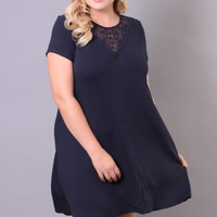 Plus Size Tie-Back Lace Trim Dress - Navy