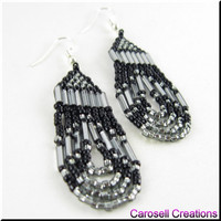 Native American Style Seed Bead Earrings in Loop De Loop Metallic Gray