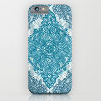 Teal & White Lace Pencil Doodle iPhone & iPod Case by Micklyn