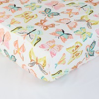 Fitted Crib Sheets | Winged Butterflies Bright Pastel