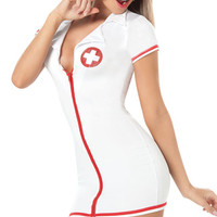 Sexy Nurse Halloween Costume, Womens Nurse Costume, Zipper Front Nurse Costume