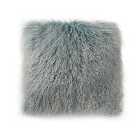 Lamb Fur Pillow Large Blue Snow 100% Wool Front 100% Polyester Back