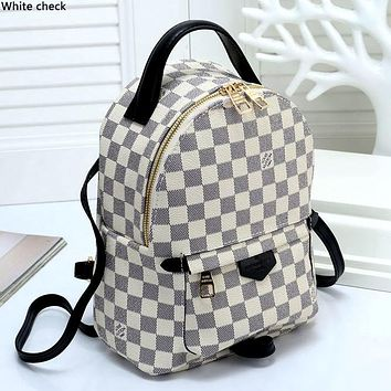 LV tide brand men and women models wild classic old flower checkerboard backpack backpack White check