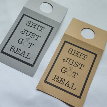 Funny bottle tags Bridesmaid wine tag shit just got real alcohol bottle tags Funny wine bottle tags shit just got real bottle gift wine tag
