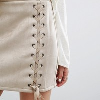 Honey Punch Laced Up Mini Skirt at asos.com