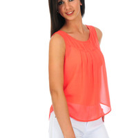 Coral Braided Back Tank Top