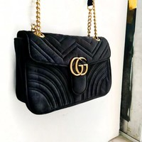 Free Shipping-GUCCI Simple Classic Wave Pattern Women's Chain Bag Shoulder Bag