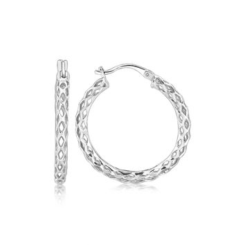 Sterling Silver Woven Design Hoop Earrings with Rhodium Plating