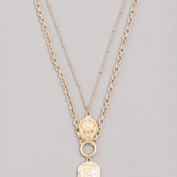 Layered Lion Coin Medallion Necklace
