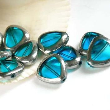 12 Turquoise And Silver Electroplated Glass Beads