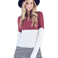 Color-Block Crochet Tunic Top
