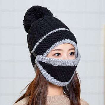 2019 2pcs/Set Women Skating Knitted Cap Mask Cap Set Modern Windproof Knitted Wool Hat Fashion Riding Outdoors Ski Activities