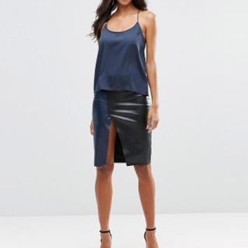 Vero Moda | Vero Moda Wrap Faux Leather Skirt at ASOS