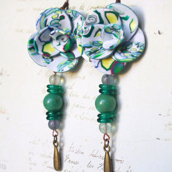 Green Jewelry  Dangle & Drop Earrings Polymer clay jewelry  Rose vintage earrings  Pierced earrings Polymer Clay  gift idea for her