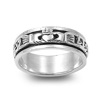 925 Sterling Silver Blessing of the Claddagh Spinner Ring