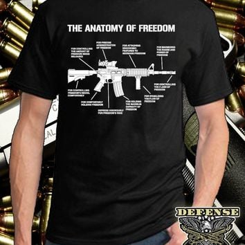 Fashion Design Shipping 2nd AMENDMENT T-SHIRT GUN PROTECT YOURSELF TEE AR-15 AK TEE ANATOMY OF FREEDOM T O-Neck Hipster Tshirts
