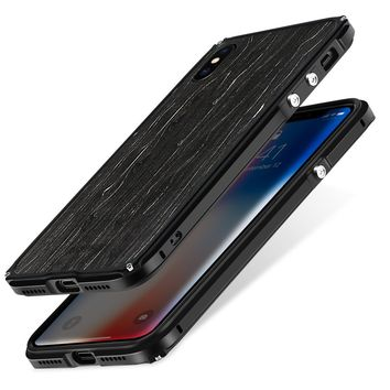 "iPhone X Metal Bumper Case, Wooden Back Case for Apple iPhone 10 5.8"", SHOWKOO Aluminum Frame with 1 mm Slim Real Wood Bottom Hybrid DIY Protective Shockproof Phone Cover - Black Icewood"