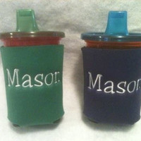 2 SIPPY CUP KOOZIES - Personalized - Embroidered Sippy Cup Koozies for Baby - Toddler, Baby Shower Gifts, Day Care Centers, Nursing Homes,