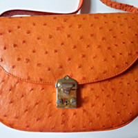 Vintage Orange GENUINE OSTRICH Skin Crossbody Adjustable Shoulder Strap Bag