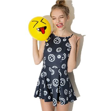 Sweet Smiley Face Print Dress