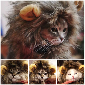 Halloween Costumes For Cats Furry Pet Hat Costume Lion Mane Wig Cat Pets Halloween Fancy Dress Up With Ears Party Drop Shipping