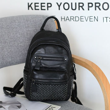 Back To School Stylish College Casual On Sale Hot Deal Comfort Leather Rivet Zippers Punk Mosaic Korean Backpack [4915809988]