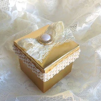 Gold and ivory favor box, wedding, bridal shower, birthday, anniversary favor box with pearl, lace and buttons