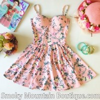 Sophia Floral Retro Bustier Dress with Adjustable Straps – Size S/M - Smoky Mountain Boutique