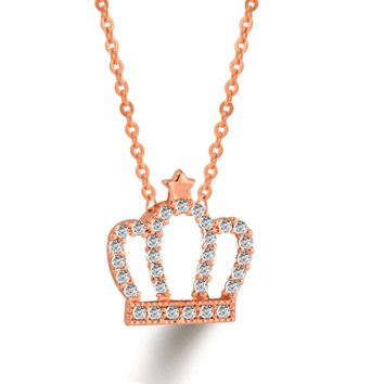 Popular Tiny Crystal Queen Crown Pendant Necklace Women Rose/White Gold Plated