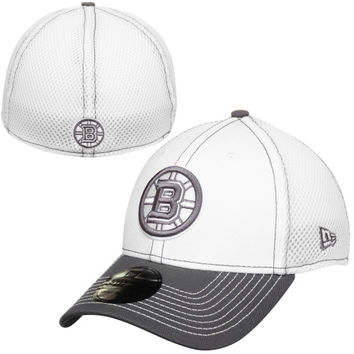 Boston Bruins New Era Two-Tone Neo 39THIRTY Flex Hat – White/Gray