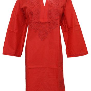 Mogul Women's Red Tunic Cotton Designer Dress Caftan Floral Embroidered Kurta 2XL: Amazon.ca: Clothing & Accessories