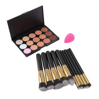 15 Colors Concealer Palette + 10pcs Make Up Brushes Kit +  Sponge Puff  Makeup Contour Palette High Quality