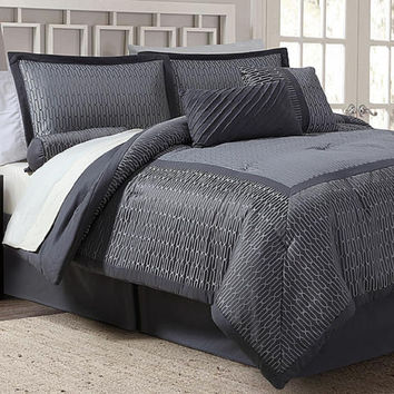7-piece Jacquard Comforter Set - Gray Grid, KING