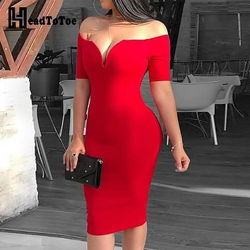 2019 Female Sexy Deep V-neck Off Shoulder Bodycon Dress Women Short Sleeve Solid Sheath Midi Dress Vestidos Verano