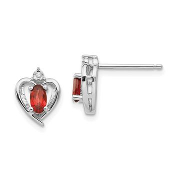 14k White Gold Diamond & Genuine Garnet Heart Stud Earrings