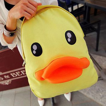Day-First™ Cute Yellow Duck Backpack Canvas Bag