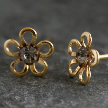 Studs ,Gold Studs, Gold Studs Earring, gold Post Earrings,Gold Flower Stud Earrings ,Christmas Gift