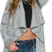SWELL AARON PRINTED OPEN SWEATER