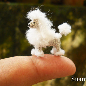 Miniature White Poodle 1 Inch - Tiny Crochet Micro Amigurumi Dog stuff Animal - Made To Order