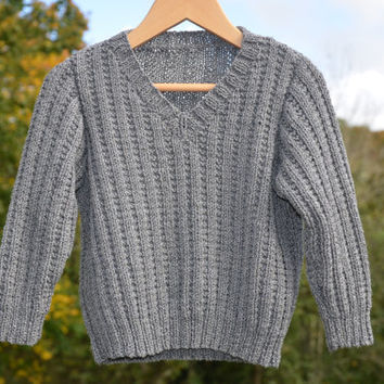 Boys Gray Sweater Hand Knitted - HandKnit Jumper - Children's Knitwear - 4 year old