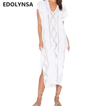 Sexy Knitted Beach Cover up Saida de Praia Swim suit cover up Beach Tunic for Women Crochet Bikini cover up Beach Dress #Q343