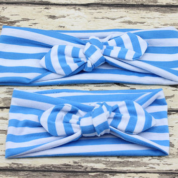 Matching Baby and Mom Topknot Stripe Headband by Baby in Motion