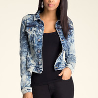 bebe Womens Denim Look Jacket Denim