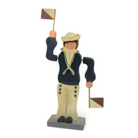 Rustic Wooden Sailor with Semaphore Flags - Vintage Handpainted Wood Home Decor - Nautical Cottage Chic Decor Shabby Knick Knack Figurine