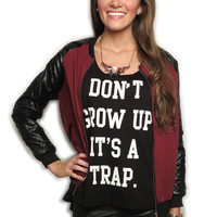 cool kids on the block quilted sleeve jacket - wine | MACA Boutique
