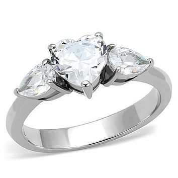 The Beat To My Heart - Women's Stainless Steel Heart Shaped CZ Ring