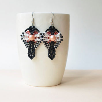 Black white macrame earrings, elegant earrings, gothic black earrings, beaded earrings, seed bead jewelry