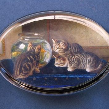 "Kittens and Fish Bowl ""An Intense Study"" Painting Oval Glass Paperweight"