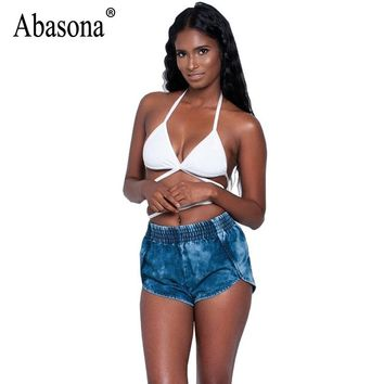 Abasona Women Denim Shorts Summer Casual High Waist Women Booty Shorts Side Split Party Club Blue Jean Sexy Mini Short Femme